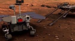 Umělecká představa vysazení vozítka mise Tchien-wen-1 na Marsu (CCTV/China National Space Administration).
