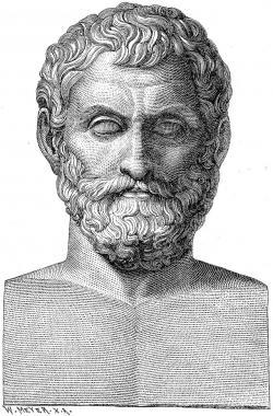 """Thales Milétský, předsokratovský filosof 624 – 546 př.n.l.  Elektron dostal jméno podle řeckého slova pro """"jantar"""". Protahovalo se jím vlákno lněné příze a na něm řecký učenec, jako první, popsal elektrické jevy. (Wikipedie, volné dílo)"""