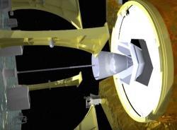 Systém připojení MEV k cílové družici – na vizualizaci je dobře vidět lano vedoucí k žihadlu, které se zatne do hlavního motoru družice. Zdroj: http://spaceflightnow.com/
