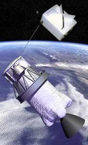 Družice SED-1 spojená na laně s druhým stupněm rakety Delta-II (NASA).