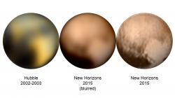 Je úžasné, jak je dědeček Hubble po dekády ve fantastické kondici. Na montáži můžeme porovnat jeho dnes již legendární snímek s těmi, které pořídila sonda při přibližování.  Kredit: NASA/ESA/HST/pitcapuozzo