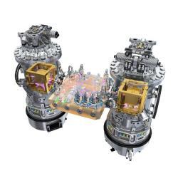 Sch�ma ulo�en� testovac�ch t�les a m���c�ch p��stroj� na sond� LISA Pathfinder (zdroj ESA).