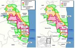 Srovnání situace po rozdělení kontaminovaných území do tří kategorii v srpnu 2013 a situace, která nastane po úplném zrušení omezení ve městě Naraha. V roce 2013 bylo v zóně celkově nebo částečně jedenáct samosprávných celků. Do současnosti se úplně otevřely Tamura a Kawauči. V Kawauči byla část území v druhé kategorii, která se přesunula do kategorie první a začne se na úplné otevření připravovat. Nyní se připravuje úplné zrušení všech omezení u města Naraha.