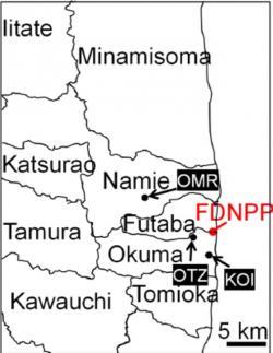 Místa nálezů čtyř cesiových mikročástic, vzorky OMR (OMR1), OTZ (OTZ3 a OTZ10) a KOI (KOI2) (zdroj Junpei Imoto et al: Scientific Reports 7:5409).