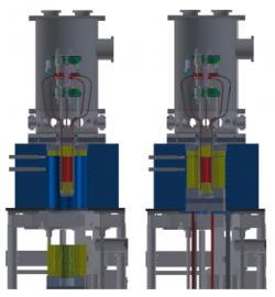 Schéma prototypu reaktoru Kilopower při experimentu KRUSTY. Žlutě je označen beryliový reflektor neutronů, kterým lze ovládat výkon reaktoru. Vlevo je mimo aktivní zónu při vypnutí reaktoru, vpravo pak zasunut okolo aktivní zóny a při testech jeho plného výkonu s využitím řídící tyče k regulaci. (Zdroj: M A. Gibson et al, Report NASA)