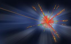 Simulace vypaření mikroskopické černé díry vzniklé na LHC emisí Hawkingova záření. Urychlovač LHC mikroskopické černé díry neobjevil a jejich existence i existence Hawkingova záření zůstávají stále v oblasti hypotéz. (Zdroj CERN).