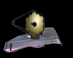 Všemi očekávaný vesmírný teleskop Jamese Webba. Kredit: NASA / Wikimedia Commons.