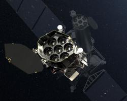 Spektr-RG. Vpopředí zrcadla teleskopu eROSITA. Kredit: DLR German Aerospace Center.