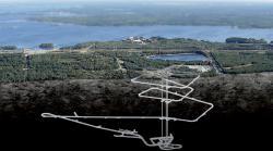Budované úložiště Onkalo zasazené do krajiny v okolí jaderné elektrárny Olkiluoto (zdroj Possiva).