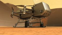 Detailnější představa o vzhledu Dragonfly v uměleckém zobrazení (NASA).