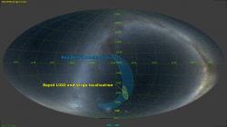 Dne 14. srpna 2017 se podařila čtvrtá detekce gravitačních vln vzniklých při splynutí černých děr. Tentokrát úkaz zaznamenaly tři detektory. Dva z amerického systému LIGO a evropský detektor VIRGO. To umožnilo zatím nejpřesnější určení polohy zdroje gravitačních vln. (Zdroj LIGO – VIRGO Spolupráce – Optical Sky Data: A. Mellinger.