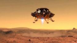 Výtvarná představa přistání čínského přistávacího modulu na Marsu (zdroj CNSA).