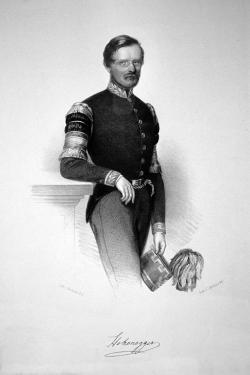 Ludwig Hohenegger ve věku  46 let na litografii Josefa Kriehubera (Wikimedia Commons).