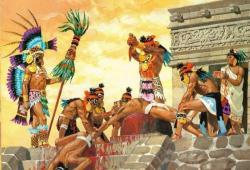 Krvavý aztécký rituál. Kredit: DaphneBreemn / Wikipedia Commons.