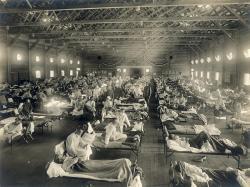 Španělská chřipka, Kansas, 1918. Kredit: Otis Historical Archives, National Museum of Health and Medicine / Wikimedia Commons.