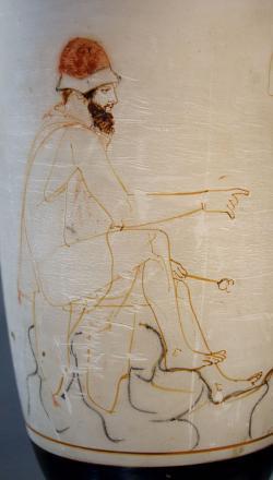 Hermés Psychopmos (Průvodce duší, po cestách i do Hádu), 460 před n. l., nyní v Berlíně. Kredit: Phiale Painter, Wikipedia.
