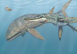 """Rekonstrukce ekologické scény z jurského moře v oblasti současné západní Evropy. Leedsichthys je zde zobrazen jako mírumilovný obr, který je téměř bezbranný tváří v tvář velkým pliosaurům, jakým je například Liopleurodon ferox (ve skutečnosti však byl tento dravý mořský plaz podstatně menší).Byl tedy Leedsichthys pouze velkou a poklidně plavající """"masovou konzervou""""? Někteří paleontologové si myslí, že ano. Kredit: Dmitrij Bogdanov, Wikipedie"""