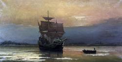 Původní Mayflower vpřístavu Plymouth. Kredit: Pilgrim Hall Museum / Wikimedia Commons.