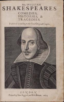 Mědirytina zobrazující Shakespeara od Martina Droeshouta, volné dílo.