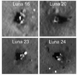 Ukázky vybraných nejlepších fotografií přistávacích modulů jednotlivých Lun získaných pomocí družice Měsíce LRO (zdroj M. S. Robinson et al.).