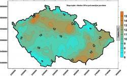 Mapa teploty v hloubce 100 m pod povrchem České republiky (zdroj P. Dědeček a kol., 2007).