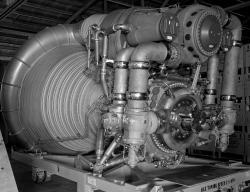 Raketový motor F-1 Saturnu V (zdroj NASA).