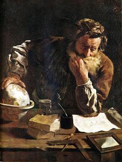 V anglicky mluvících zemích se pro pí používá termín Archimedova konstanta. Ten používal k jejímu odhadu metodu vyčerpání. ( Kredit: Domenico-Fetti , 1620 )