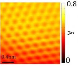Monokrystal grafenu vytvořený na plátku mědi. Obrázek byl pořízen tunelovým elektronovým mikroskopem. (Kredit: Caltech Office of Strategic Communications / Nature Communications)