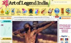 """""""Lidem z jiných kultur připadá přinejmenším nezvyklé dávat si na zeď člověka umučeného k smrti, případně mučicí nástroj. Nám to zvláštní nepřijde."""" (Obrázek je ze stránek Art of Legend India)"""