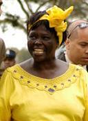 Wangari Muta Maathai, keňská environmentální aktivistka a nositelka Nobelovy ceny za mír v roce 2004, šiřitelka  konspirační teorie umělého původu HIV.