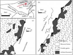 Geologická mapa oblasti Yanshan. Sedimenty v nichž se artefakty považované za fosilie pradávného života nacházejí, dosahují hloubky desítek metrů.