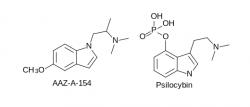 Srovnání struktury psilocybinu s nově připravenou psilocybinem inspirovanou molekulou, jež by mohla být lékem na depresi a nevyvolávat halucinace. Kredit: BKchem.