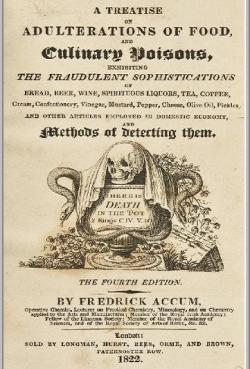 """Frederic Accum (1769-1838)   (Kredit: European Magazine.Public Domain, Wikimedia Commons)  """"Pojednání o falšování potravin a kulinárních jedech""""  aneb """"V hrnci je smrt"""" (Londýn 1820)"""
