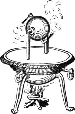 """Aeolipile neboli """"míč boha větrů Aióla"""" - parní reaktivní stroj, známý také jako Heronova baňka."""
