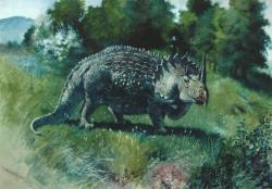 Umělecká rekonstrukce agathauma v podání Charlese R. Knighta (1897). Dnes patří tato zastaralá, ale půvabná malba ke klasickým původním zobrazením rohatých dinosaurů. Převzato z Wikipedie.