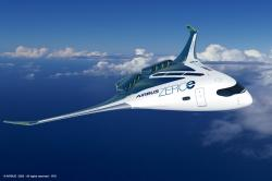 Jedna zvariant letounu se supravodivým pohonem (blended wing body). Kredit: Airbus.