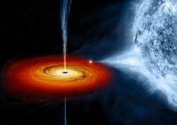 Hmota padající z hvězdného partnera na černou díru vytváří akreční disk a při tomto procesu vzniká intenzivní rentgenovské záření. Na obrázku je rentgenovský zdroj Cygnus-X-1 v představách malíře. (Zdroj NASA/CXC/M. Weiss)