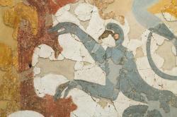 Nástěnná malba s opicemi z místnosti Beta 6 v Akrotiri. Muzeum prehistorické Théry, 344-346. Kredit: Zde, Wikimedia Commons.