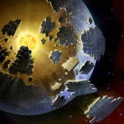 Jak asi vypadá systém hvězdy KIC 8462852? Kredit: Danielle Futselaar / SETI International.