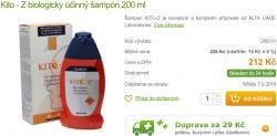 """Lékárnou nabízený KITO-Z, což má být """"šampón pro zdraví"""" se uváděním triclosanu dokonce chlubí. Spolu s uvedením důvěryhodného výrobce ALTA CARE Laboratories to na kupujícího nutně musí působit, že takovou koupí drahého produktu přece nemůže prohloupit."""