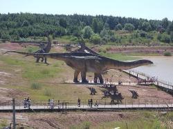 Hypotetická podoba obřího druhu A. fragillimus v polském JuraParku Krasiejów. Ačkoliv tento model není příliš přesný, dává představu o gigantických rozměrech enigmatického sauropoda. Ve skutečnosti by byl živý amficélias ještě zhruba o polovinu delší! Kredit: Meridas, převzato z Wikipedie