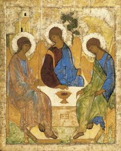 """""""Umění je znakem člověka i oknem do metafyziky"""". Ikona Trojice od Andreje Rubleva. (Kredit: Wikipedia)"""