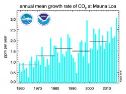Klima se řídí přírodními zákony a ne vyhláškami nebo mezinárodními smlouvami. Tempo meziročního nárůstu koncentrace CO2 v atmosféře nijak neklesá. Více méně kopíruje vývoj teplot. V teplém roce jako 1998 nebo 2015 se mění rozpustnost plynů v teplé vodě oceánu. A tak se do atmosféry zůstává více CO2. https://www.co2.earth/co2-acceleration