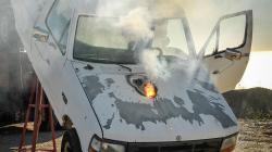 Test 30 kW laseru ATHENA. Kredit: Lockheed Martin.