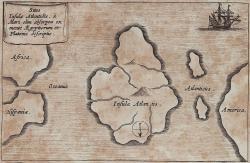 Mapa Atlantidy, sever je dole. (Staré mapy mívají nahoře jih, analogicky astronomickému pohledu na meridián.) Athanasius Kircher: Mundus subterraneus. Amsterdam 1678. Dobový pokus o vědu. Kredit: UB Heidelberg, Wikimedia Commons.