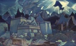 """Н.К.Рерих """"Гибель Атлантиды"""", 1928. Международный Центр-Музей имени Н.К.Рериха, Москва. Kredit: Nicholas Roerich, Wikimedia Commons."""