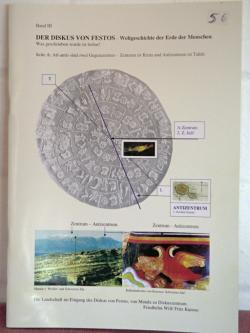 Překlad textu disku Faistu z atlantského jazyka do němčiny, s výkladem, koupený na planině Nida na Krétě. Kredit: Archiv autora.