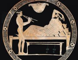 Hudebník hrající na aulos – polovina 5. století p.n.l., autor aténský malíř Euaion