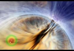 Průchod vnitřním Cauchyho horizontem masivní černé díry. Kredit: ilustrace: Andrew Hamilton / modelování na superpočítači: John Hawley.