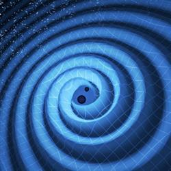 Splývání černých děr. Kredit: LIGO / T. Pyle.